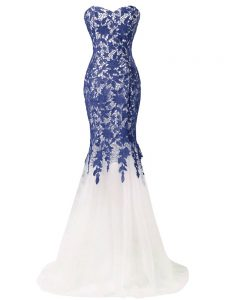 Adorable Zipper Going Out Dresses Blue And White for Prom and Military Ball and Sweet 16 with Beading and Lace and Appliques Brush Train