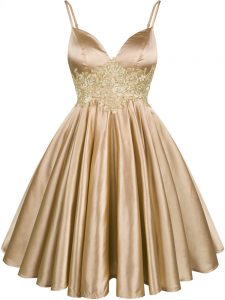 Elastic Woven Satin Spaghetti Straps Sleeveless Lace Up Lace Quinceanera Dama Dress in Champagne