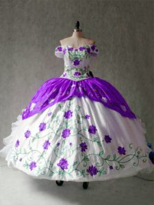Exquisite Cap Sleeves Floor Length Embroidery and Ruffles Lace Up Sweet 16 Dresses with White And Purple