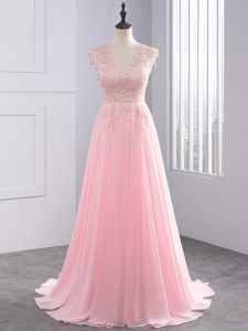 Adorable Baby Pink Celebrity Dresses Prom and Party with Lace and Appliques V-neck Sleeveless Brush Train Side Zipper