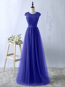 Blue Short Sleeves Lace Floor Length Prom Dresses
