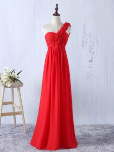 Excellent Red Empire One Shoulder Sleeveless Chiffon Floor Length Lace Up Hand Made Flower Quinceanera Dama Dress