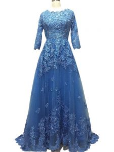 Blue 3 4 Length Sleeve Brush Train Lace and Appliques Celebrity Inspired Dress