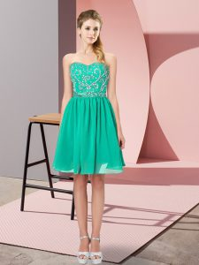 Edgy Turquoise Sleeveless Beading Mini Length Dress for Prom