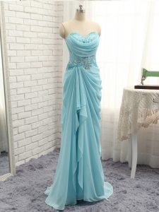Stunning Sweetheart Sleeveless Chiffon Prom Gown Beading and Ruching Zipper