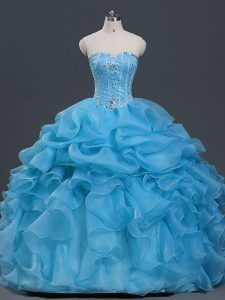 Baby Blue Sweetheart Lace Up Beading and Ruffles and Pick Ups Ball Gown Prom Dress Sleeveless