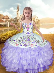 Embroidery and Ruffled Layers Party Dresses Lavender Lace Up Sleeveless Floor Length