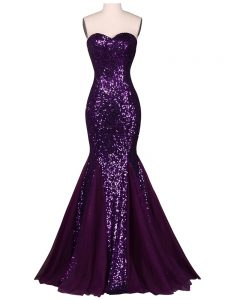 Comfortable Chiffon and Tulle Sweetheart Sleeveless Lace Up Sequins Formal Dresses in Purple