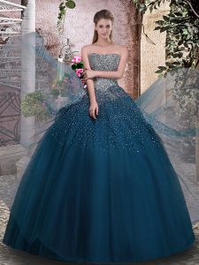 Modest Sleeveless Tulle Floor Length Lace Up Sweet 16 Dresses in Teal with Beading