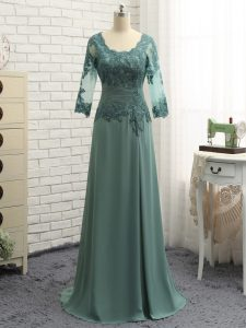 Designer Green Zipper Scalloped Lace and Appliques and Ruching Mother of Bride Dresses Chiffon Long Sleeves