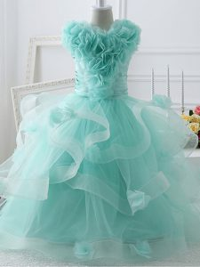 Tulle High-neck Sleeveless Zipper Ruffles and Hand Made Flower Party Dress for Toddlers in Apple Green