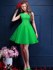 Green Lace Up Bateau Beading and Lace Dama Dress for Quinceanera Tulle Sleeveless