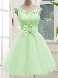 Yellow Green Scoop Lace Up Lace and Bowknot Vestidos de Damas Sleeveless
