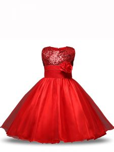 Knee Length Ball Gowns Sleeveless Red Little Girls Pageant Gowns Zipper