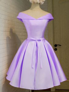 A-line Bridesmaid Gown Lavender Off The Shoulder Taffeta Cap Sleeves Knee Length Lace Up