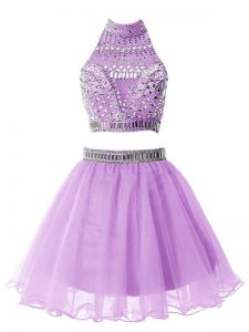 A-line Damas Dress Lilac High-neck Organza Sleeveless Knee Length Zipper
