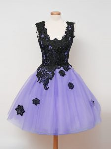 Traditional Straps Sleeveless Zipper Quinceanera Dama Dress Lavender Tulle