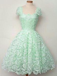 Apple Green Straps Neckline Lace Wedding Party Dress Cap Sleeves Lace Up
