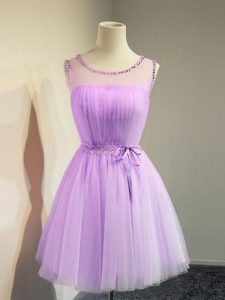 Lavender Empire Tulle Scoop Sleeveless Belt Knee Length Lace Up Quinceanera Court Dresses