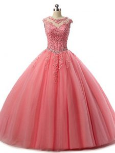 Elegant Scoop Sleeveless 15th Birthday Dress Floor Length Beading and Lace Watermelon Red Tulle