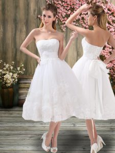 Custom Design Sweetheart Sleeveless Organza Bridal Gown Appliques and Embroidery and Belt Lace Up
