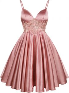 Modest Pink Elastic Woven Satin Lace Up Spaghetti Straps Sleeveless Knee Length Wedding Party Dress Lace