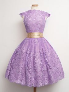 Lace High-neck Cap Sleeves Lace Up Belt Vestidos de Damas in Lavender