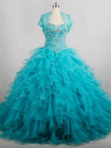 New Style Aqua Blue Quinceanera Dresses Sweetheart Sleeveless Brush Train Lace Up