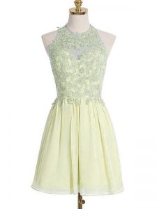 Low Price Sleeveless Knee Length Appliques Lace Up Quinceanera Court of Honor Dress with Light Yellow