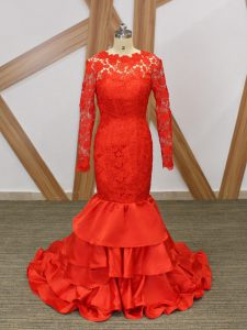 Modest Red Scoop Neckline Lace and Appliques Formal Dresses Long Sleeves Backless
