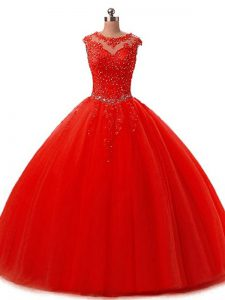 Traditional Red Sleeveless Floor Length Beading and Lace Lace Up Quinceanera Gown