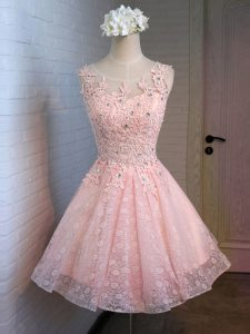 Artistic Pink Lace Up Scoop Lace and Appliques Prom Evening Gown Lace Sleeveless