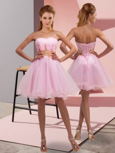 Baby Pink A-line Sweetheart Sleeveless Tulle Mini Length Lace Up Beading and Ruching Homecoming Dress