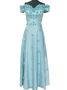 Light Blue Taffeta Zipper Prom Evening Gown Sleeveless Floor Length Hand Made Flower