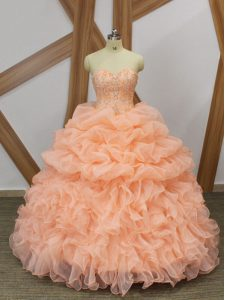 Peach Organza Lace Up Ball Gown Prom Dress Sleeveless Sweep Train Beading and Ruffles and Pick Ups