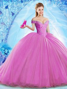 Best Organza Sleeveless Vestidos de Quinceanera Brush Train and Beading