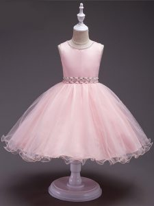 Cheap Baby Pink Organza Zipper Scoop Sleeveless Knee Length Party Dress for Girls Beading