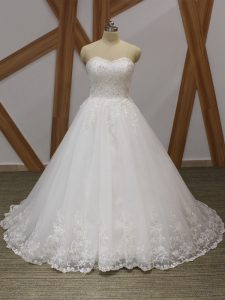 Shining Ball Gowns Sleeveless White Wedding Gown Brush Train Lace Up