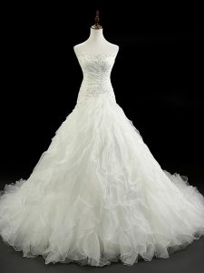 High Class Lace Up Bridal Gown White for Wedding Party with Beading and Ruffles Court Train