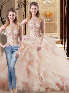 Customized Sleeveless Brush Train Lace Up Beading and Ruffles Sweet 16 Dress
