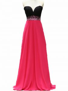 Pink And Black Taffeta Zipper Evening Dress Sleeveless Floor Length Beading