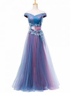 Chic Sleeveless Lace Up Floor Length Appliques and Ruching and Belt Prom Dresses