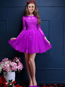 Eggplant Purple 3 4 Length Sleeve Beading and Lace and Appliques Mini Length Wedding Guest Dresses