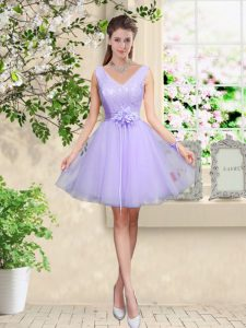 Custom Fit Lilac Lace Up V-neck Lace and Belt Bridesmaid Dress Tulle Sleeveless