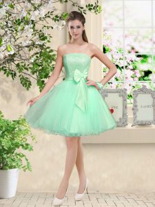 Apple Green Off The Shoulder Neckline Lace and Belt Dama Dress for Quinceanera Sleeveless Lace Up