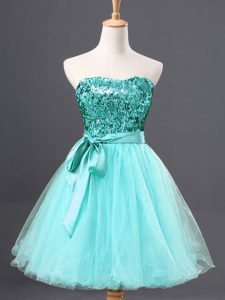 Tulle Sweetheart Sleeveless Zipper Sequins Homecoming Dress in Aqua Blue