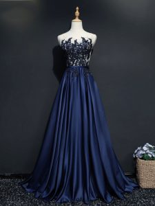 Nice Scoop Sleeveless Brush Train Zipper Navy Blue Taffeta
