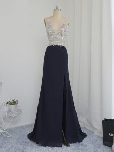 Black Prom Gown Prom and Party and Military Ball with Beading V-neck Sleeveless Backless