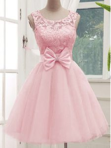 Fantastic Knee Length A-line Sleeveless Baby Pink Court Dresses for Sweet 16 Lace Up