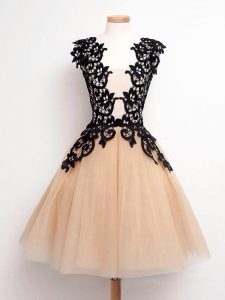 Champagne A-line Straps Sleeveless Tulle Knee Length Lace Up Lace Bridesmaid Gown